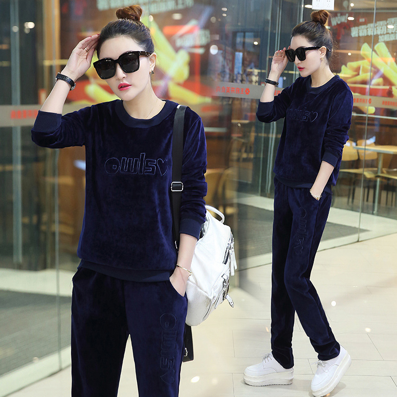 2018 Winter New Style Korean-style Fashion Casual Gold Velvet Set Girl'S Jogging Suits Fashion
