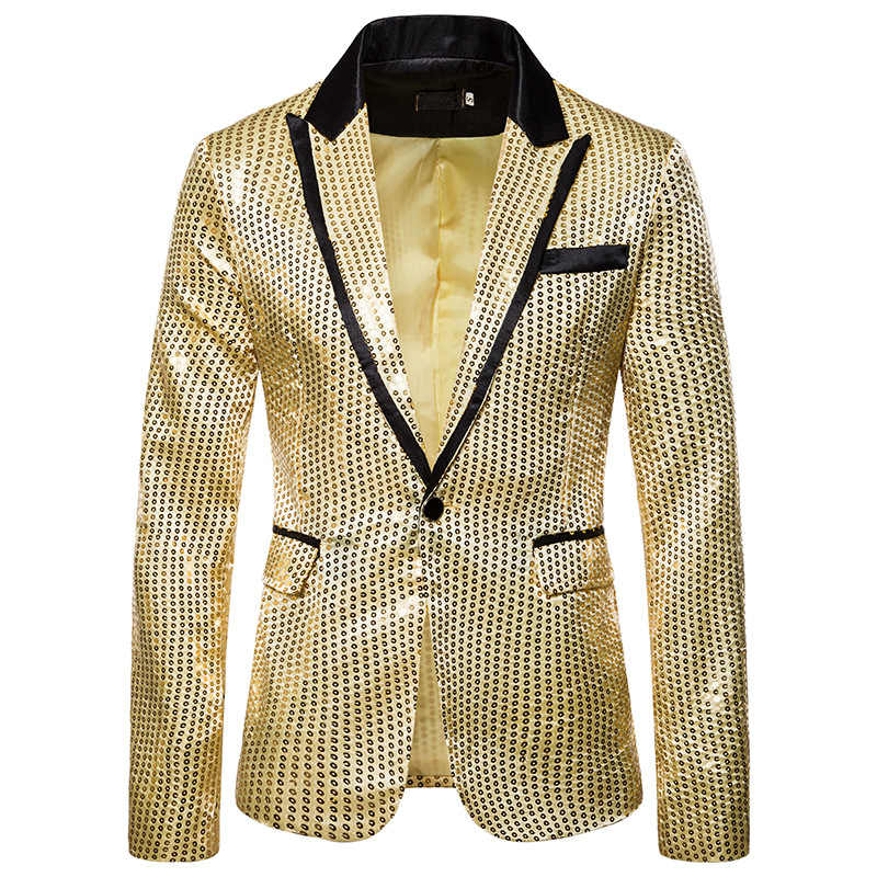 Shiny Gold Pailletten Glitter Blazer Männer Eine Taste Hochzeit Anzug Jacke Nachtclub Prom Blazer Mens DJ Bühne Kleidung für Sänger XXL