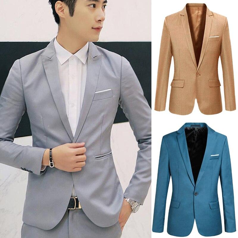 Spring Autumn Men Blazer Long Sleeve Solid Color Slim Casual Thin Suit Jacket Plus Size SER88