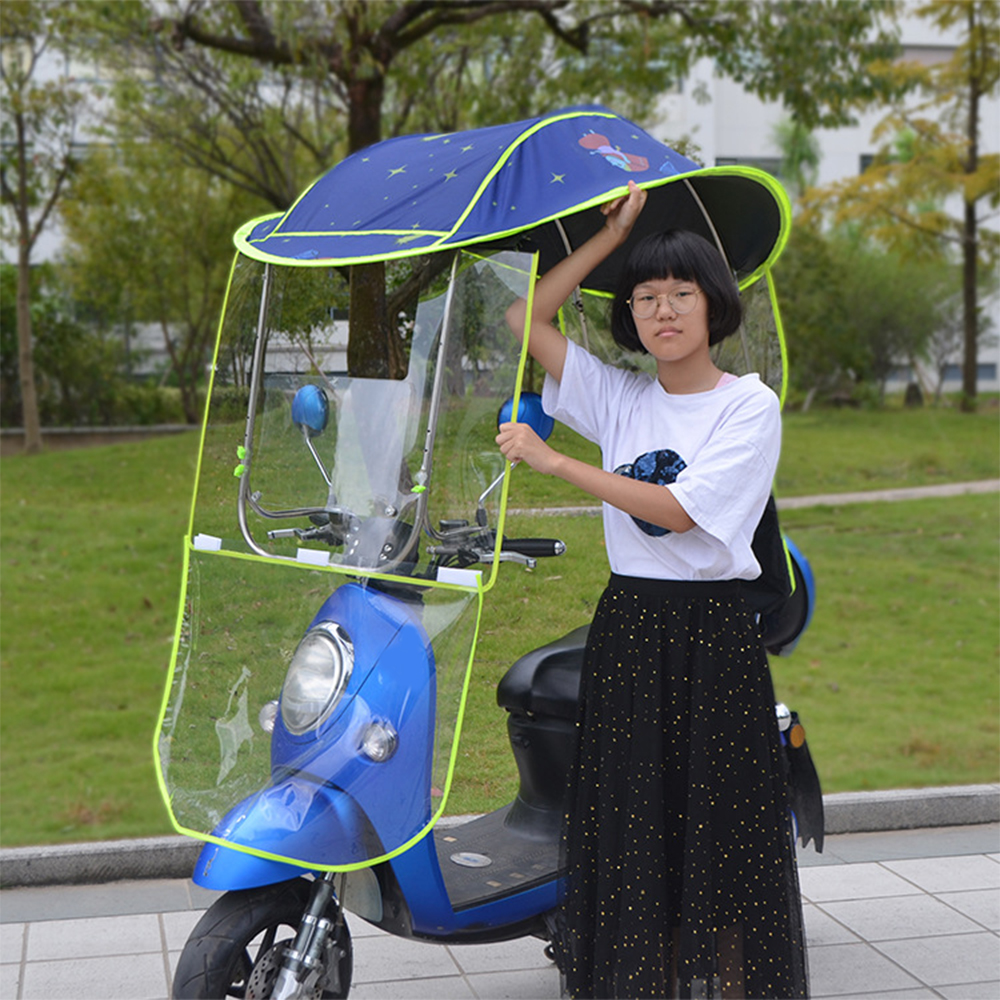 Universal Motor Scooter Umbrella Mobility Sun Shade Rain Cover Electric Vehicle Umbrella Mobility Raincoat Poncho Dust Proof