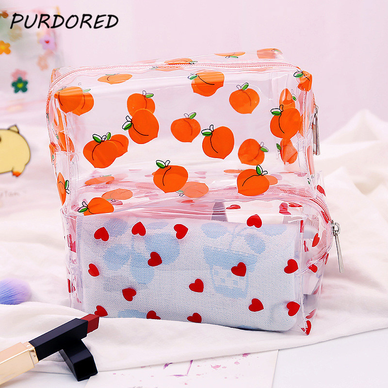 PURDORED 1 Pc Girl Clear Cosmetic Bag PVC Transparent Makeup Bag For Women Waterproof Zipper Beauty Case Travel  Toiletry Bags