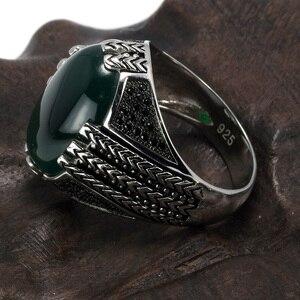 Image 4 - Real puro 925 prata esterlina anéis com pedra ônix preto grande turco anéis para homens retro vintage turquia jóias anelli uomo