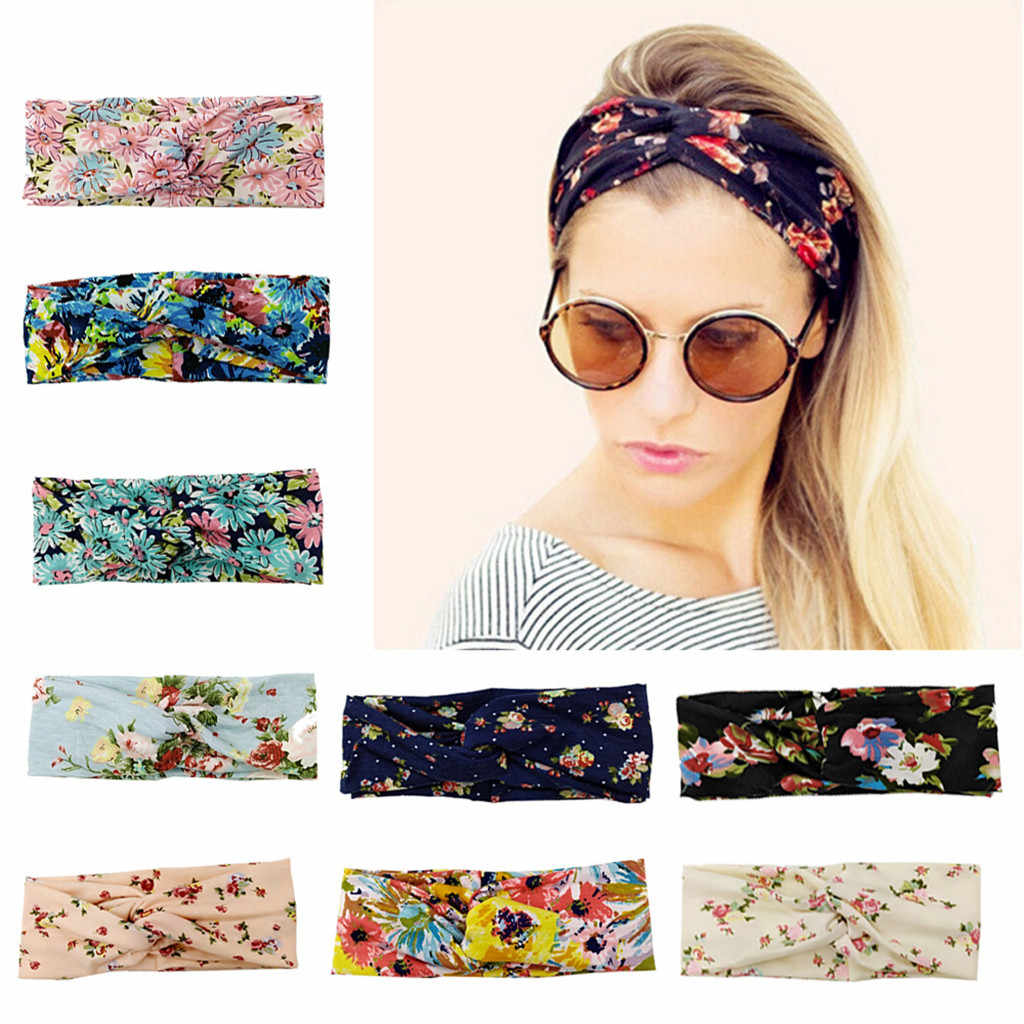 cWomen Headband Boho Floal Style Criss Cross Head Wrap Hair Band   abelo acessorio Graffiti Hip-Hop Retro Fashion Hairband
