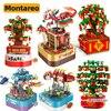 Kumquat-Caja giratoria de música de Año Nuevo Chino MOC City, modelo de pez Koi de Naranjo, bloques de construcción, juguetes creativos para niños, regalo para niños