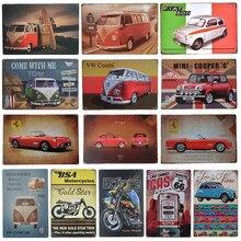 Cartel artístico de Metal antiguo para hombre, cartel de hogareña, Ruta 66, autobús, Moto artística, Bar, cafetería, decoración de pared Retro