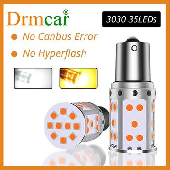 1X P21W LED 1156 BA15S PY21W BAU15S 35SMD Bulb Canbus Free LED AUTO Lamp License Plate Lights Car Turn Signal Light Amber White 1156 bau15s py21w dual color white ice blue amber yellow switchback led turn signal light error free canbus with resistor drl