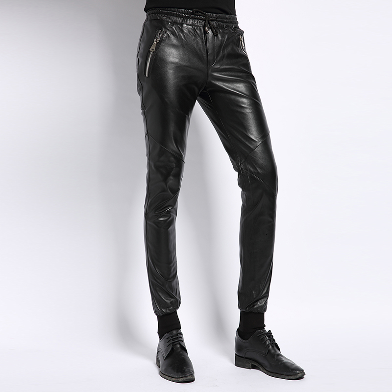 Male Pants Real Leather 2020 Autumn Korean New Fashion Casual Classic Business Mens Straight High Street Full Length Trouser Man