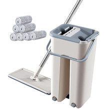 Flat Floor Mop Scraping Ultra-Fine Fiber Mop Self Wet and Dry Cleaning Microfiber Mop Bucket with 5 Microfiber Pads(China)
