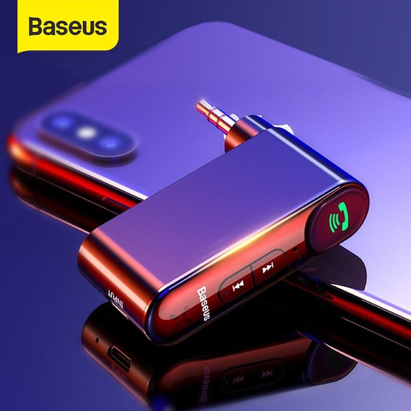 Baseus AUX receptor Bluetooth para coche de 3,5 MM Jack de Audio de música Bluetooth 5,0 Kit manos libres de coche inalámbrico Bluetooth altavoz estéreo de coche