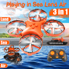 3 in 1 RC Helicopter Car Boat Flying Air Land Driving Mode Detachable One Key Return Quadcopter RTF for Kid's Toy
