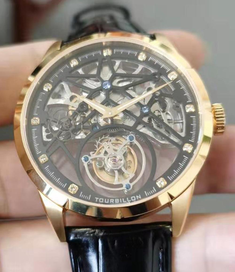 New Model GUANQIN 100% Original Tourbillon men watch top brand luxury double Skeleton Sapphire Relogio Masculino 24