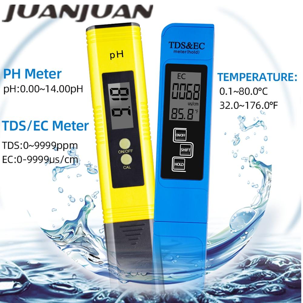 Digital PH Meter 0.0-14.0 Ph Tds Ec Meter 3 In1 Suhu Tester 0-9000 Ppm Kualitas Air otomatis Monitor 48% Off