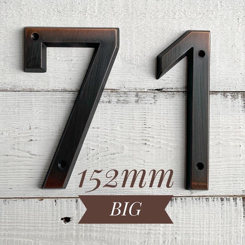 Aged Bronze 152mm Very Big House Number Door Address Number Zinc Alloy Screw Mounted Outdoor Address Sign #0-9