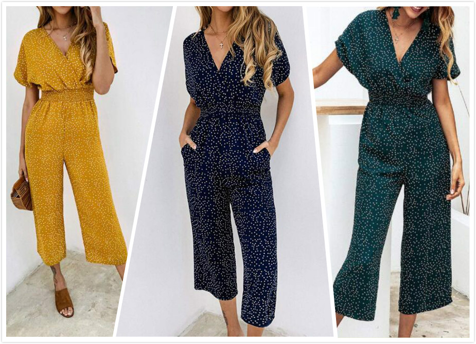 Summer Polka Dot Wrapped V-neck Short-sleeved Jumpsuits Woman Pocket Rompers High Waist Wide Leg Loose Chiffon Jumpsuit
