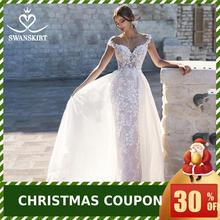 Милая Съемный Поезд свадебное платье Swanskirt N130 аппликации Русалка Аппликации Свадебные платья под заказ Vestido de novia