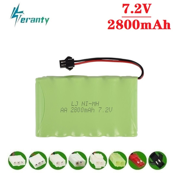 цена на 2800mah 7.2v Rechargeable Battery For Rc toys Cars Tanks Robots Gun NiMH Battery AA 7.2v 2400mah Batteries Pack For Rc Boat 1PCS