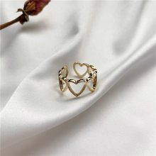 JOUVAL Korean New Heart Ring For Women Guality Plated Shine Alloy Adjustable Smooth Open Hollow Rings Bague Girl Party Jewelry