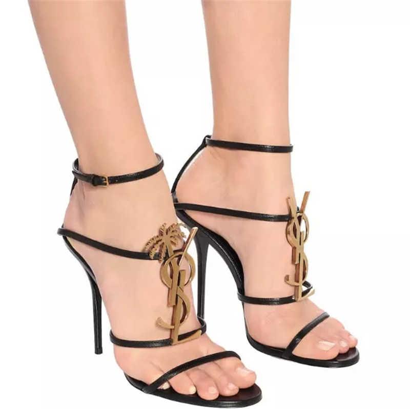Сандалии женские из натуральной кожи, Классические брендовые, на шпильке 10 см, с металлическим логотипом, открытый носок, круглый носок, туфли