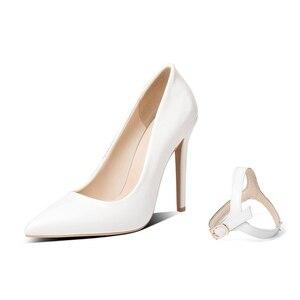 Image 3 - BLXQPYT seksi iki yolu giymek büyük 33 50 yüksek kaliteli kadın pompaları sivri burun ince yüksek Heels12cm düğün parti ayakkabıları YM 20