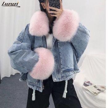 Luzuzi 2020 hiver veste en Jean ample femmes col de fourrure surdimensionné Plus velours rembourré vestes Vintage coton épais chaud Jean manteau 1