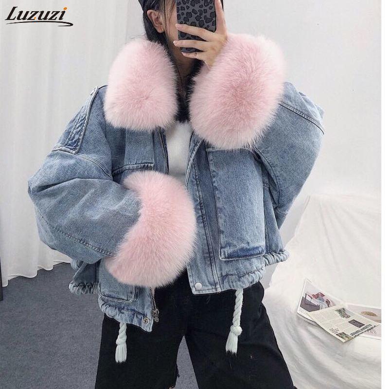 Luzuzi 2021 Winter Loose Denim Jacket Women Oversized Fur Collar Plus Velvet Padded Jackets Vintage Cotton Thick Warm Jean Coat