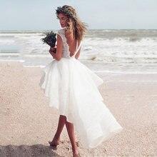 Шикарное свадебное платье с глубоким вырезом и коротким рукавом