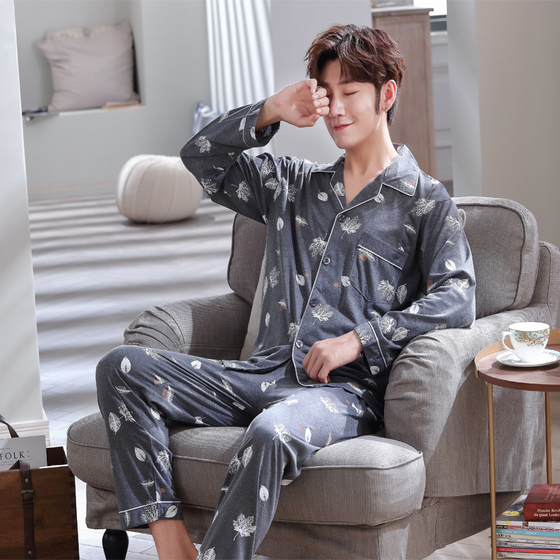 Men's Cotton Seepwear Pijama Hombre Invierno Winter Man Pajamas Long Sleeve Trousers Sexy Nightwear For Men Gray Big Size 3XL