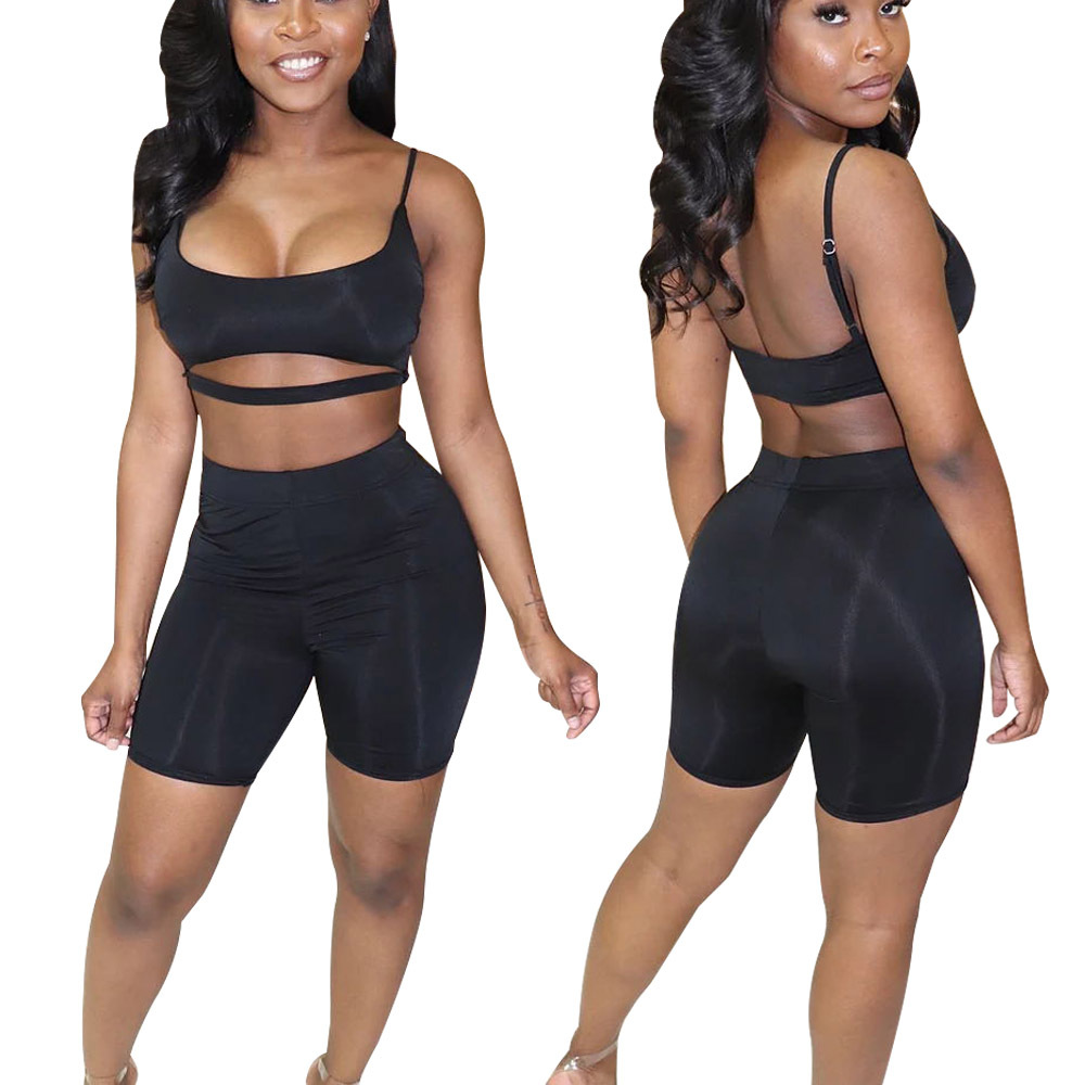 Summer Hot Selling Europe And America Camisole Navel Backless Two-Piece Shorts Set Nightclub Uniforms Sd116