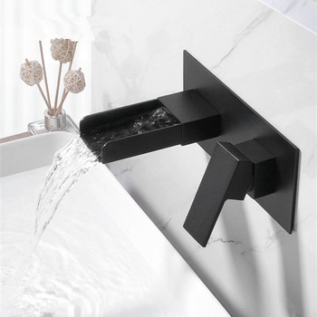 Wall Mounted Basin Faucet Brass Single Handle Mixer Tap Hot And Cold Bathroom Water Bath Matt Black Faucet Sink wall mounted kitchen faucet rotate vegetable basin faucet hot cold water mixer mop pool tap sink faucet torneira double holes