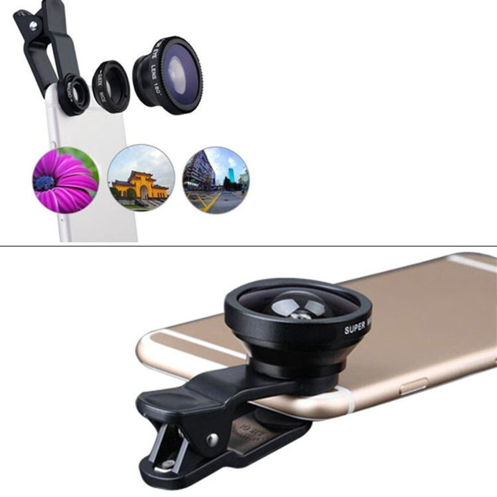 3-in-1 Wide Angle Macro Fisheye Phone Camera Lenses With Clip for iPhone Samsung All Cell Phones 1