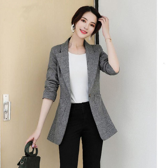PEONFLY Vintage Office Lady Notched Collar Plaid Women Blazer Single Button Autumn Jacket 2021 Casual Pockets Female Suits Coat 6