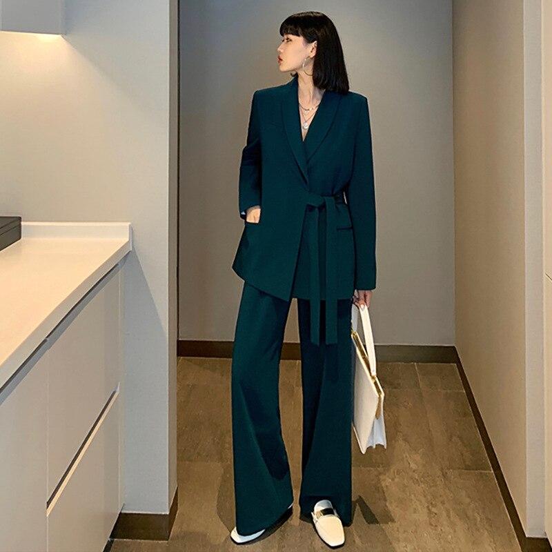 New Arrival Women Plus Big Size Pant Suit Professional Temperament Fashion Suit Wide Leg Pant Comfortable Pant Suits L-5XL