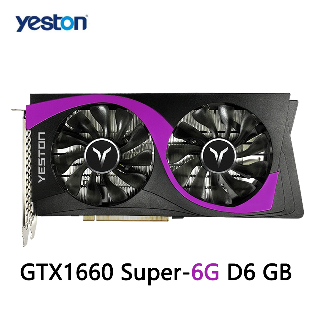 Yeston GTX1660 Super-6G D6 игровой Графика карты 6 ГБ 12nm 1530/1785 МГц 6G/192bit/GDDR6 PCI-Express 3,0 DVI-D + совместимому с HDMI + DP