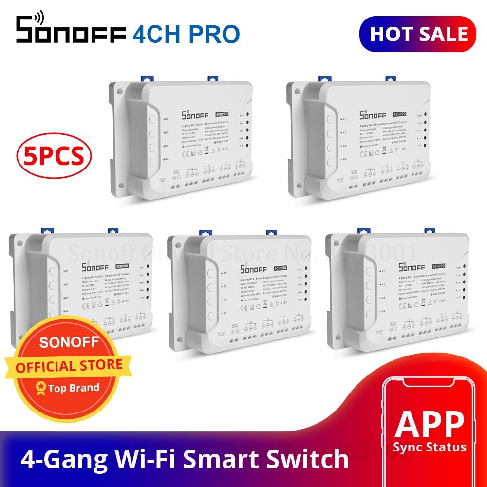 Sonoff 4CH Pro Maison Intelligente RF Wifi Lumière Commutateur 4 Gang 3 Modes de Travail Inching De Verrouillage Auto-verrouillage Wifi Interrupteur Travail Avec Alexa