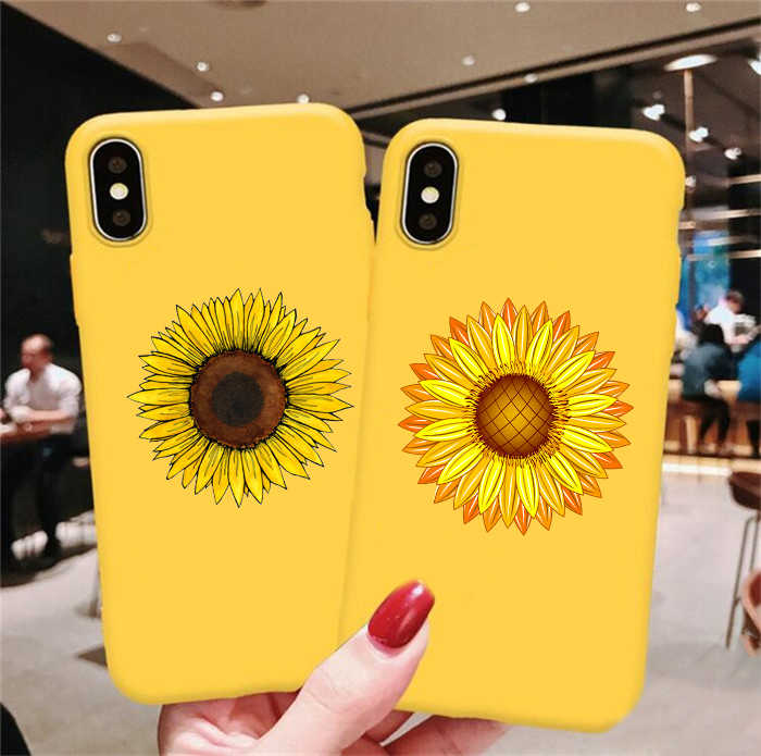 Dễ Thương Mùa Hè Daisy Hoa Hướng Dương Họa Tiết Hoa Mềm Mại Vàng Ốp Lưng Điện Thoại Fundas Coque Cho iPhone 7 7Plus 6S 8 8 Plus X XS Max 11 Pro