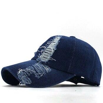 2020 Spring And Autumn Fashion Worn Denim Cap Summer Outdoor Leisure Visor Hat Trend Hole Baseball Caps Hip Hop Sport Hats