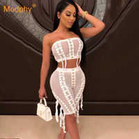 2019 Summer New Fashion Sexy Women's Pants Set Top and Perspective Pants 2 Two Piece Club Celebrity Evening Party Set
