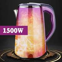 2.5L 1500W Purple Electric Kettle Water Heater Boiler Stainless Steel Cordless Teapot Household Kitchen Heating Boiling