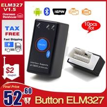 10 قطعة/الوحدة A ++ جودة V1.5 سوبر ميني ELM327 بلوتوث مع PIC18F25K80 الدردار 327 مع التبديل OBD2 CAN BUS التشخيص الماسح الضوئي أداة