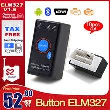 10 pçs/lote um + + qualidade v1.5 super mini elm327 bluetooth com pic18f25k80 elm 327 com interruptor obd2 can bus ferramenta de scanner de diagnóstico