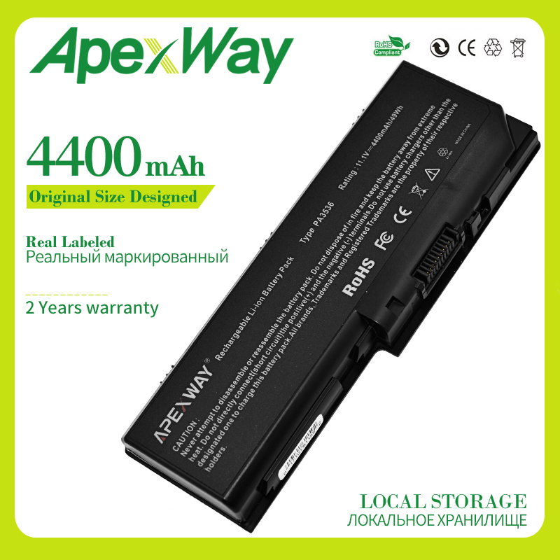 Apexway 4400mAh 10.8v laptop <font><b>battery</b></font> for <font><b>Toshiba</b></font> PA3536U-1BRS PA3537U-1BAS PA3537U-1BRS <font><b>Satellite</b></font> <font><b>L350</b></font> P200 P205 P300 X200 image