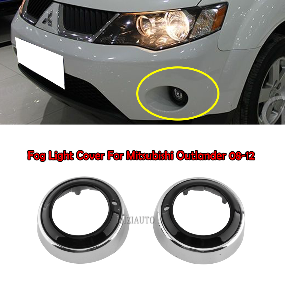 MIZIAUTO Fog <font><b>Light</b></font> Cover For <font><b>Mitsubishi</b></font> <font><b>Outlander</b></font> <font><b>2008</b></font> 2009 2010 2011 2012 holes covers Rear Fog <font><b>Light</b></font> Rear Fog Lamp Frame image