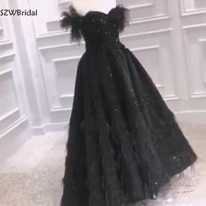 Image 3 - Новое поступление, мусульманское вечернее платье 2020, вечернее платье с черными перьями и бисером, Дубай, арабские Длинные платья, вечерние платья