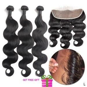 Cabelo brasileiro remy onda do corpo 3 pacotes com frontal pré arrancado linha fina real tecer cabelo humano 13x4 laço frontal com pacotes