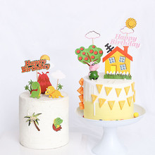Dinosaur Volcano Cake Topper Flags For Birthday Kids Favor And Cupcake Dessert Table Decorations