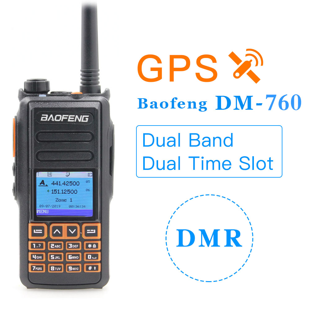 Baofeng Radio DM-760 2019 NEW GPS Dual Band Tier 1&2 Tier II Dual Time Slot DMR Digital Analog Walkie Talkie