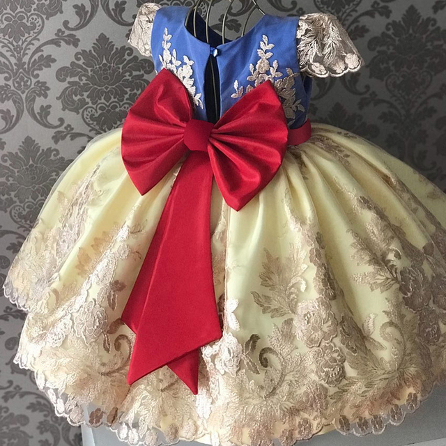 Princess Kids Dresses for Girls Tutu Lace Flower Embroidered Ball Gown Children Wedding Party 3