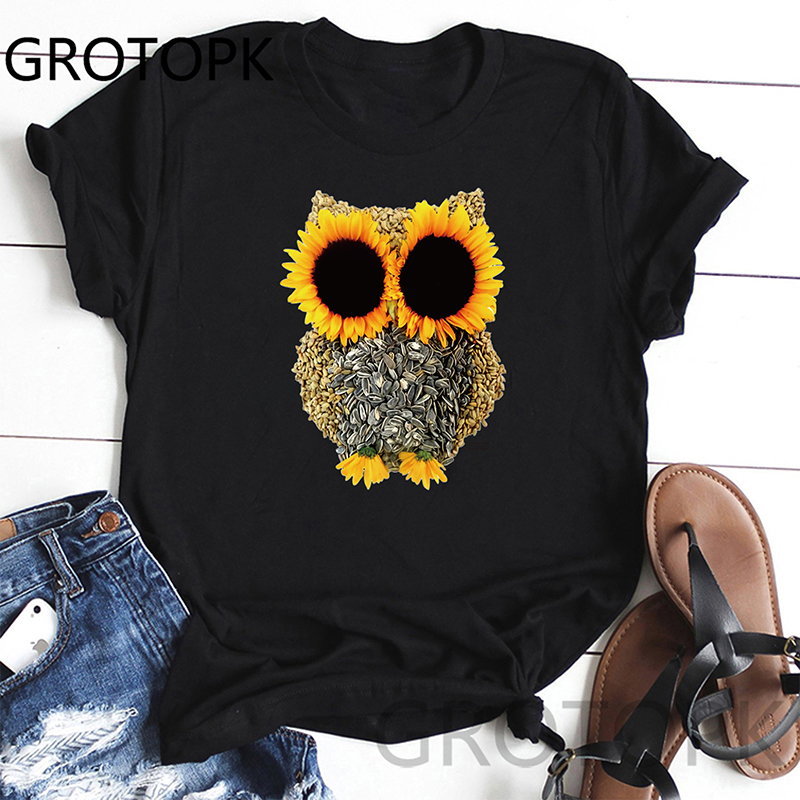 Owl Sunflower T-Shirt Women Simple Design Print T Shirts Women's Arrival Summer Style Short Sleeve Women T-Shirt
