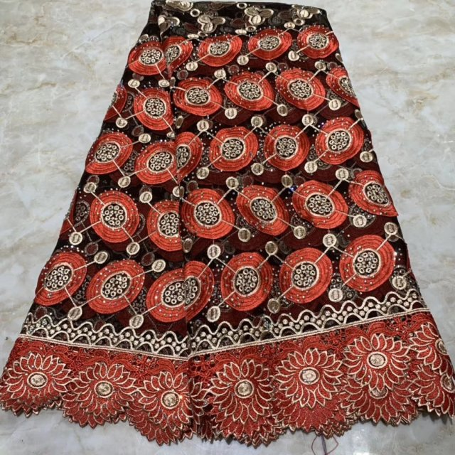 New High Quality 2019 Tulle Beaded French Lace High Quality Nigerian Lace Fabrics Pearls Embroidered African  Lace Fabric Red