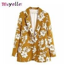 Women Blazers Retro Floral Print Womens 2019 Autumn Notched Collar Long Sleeve OL Tide Outerwear Coats